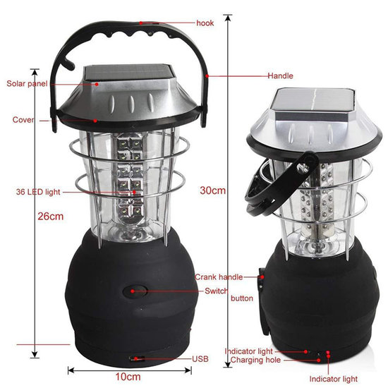 36 LED  Multifuction Hand Crank Solar Lantern